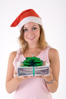 Free Girl With Gift Box Stock Photography - 3063912