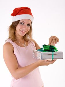 Free Girl With Gift Box Stock Image - 3063921