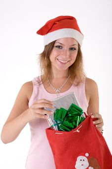 Free Girl With Gift Box Stock Image - 3063941