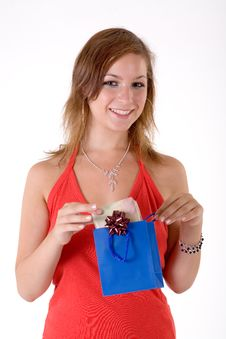 Free Girl With Gift Box Stock Photography - 3064092