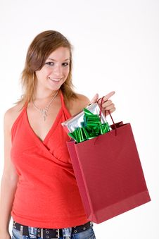 Free Girl With Gift Box Royalty Free Stock Image - 3064106