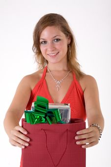 Free Girl With Gift Box Royalty Free Stock Images - 3064179