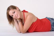 Free Lying Girl In Red Top Stock Image - 3064211