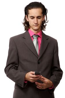 Free Businessman With A Mobile Royalty Free Stock Photography - 3064367