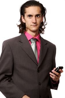 Free Businessman With A Mobile Stock Photo - 3064400