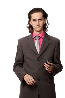 Free Businessman With A Mobile Royalty Free Stock Image - 3064406