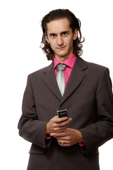 Free Businessman With A Mobile Stock Photography - 3064422