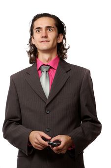Free Businessman With A Mobile Royalty Free Stock Photos - 3064428