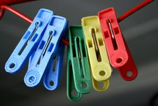Plastic Clothes Pegs Stock Photo