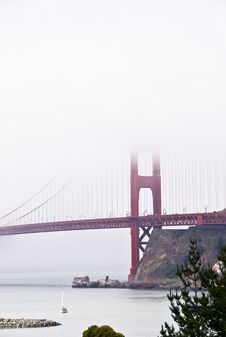 Golden Gate Bridge And Fog Stock Photo