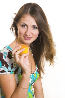 The Young Girl With A Peach Stock Photos