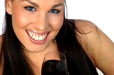 Free Brunette With Red Wine Royalty Free Stock Photo - 3066335
