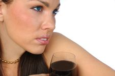 Free Brunette With Red Wine Royalty Free Stock Photography - 3066357