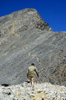 Climbing Rocky Ridge Royalty Free Stock Photos