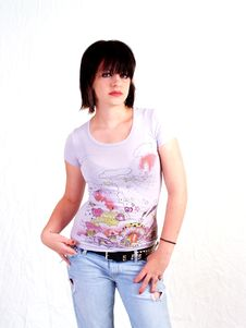 Brunette Rocker Girl Stock Image