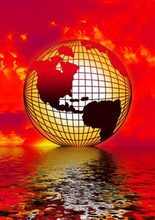Globe Reflection Stock Images