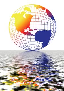 Globe Reflection Stock Photo