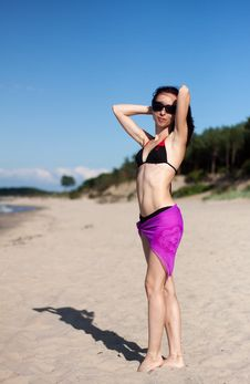 Free Young Beautiful Woman On The Beach Stock Image - 30602091