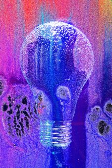 Electric Light Bulb In Abstract Painting
