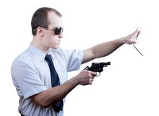 Free Professional Man With Gun Royalty Free Stock Photos - 30605658