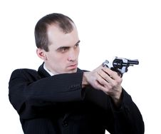 Professional Man With Gun Stock Image