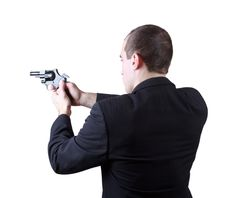 Free Professional Man With Gun Royalty Free Stock Photography - 30605847
