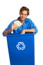 Free Caucasion Male With Recycle Bin Holding Money Stock Photos - 30620163