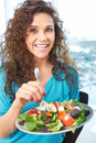 Free Beautiful Happy Female Eating A Salad Stock Images - 30621044