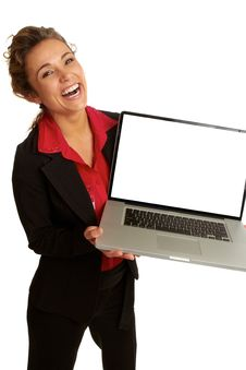 Free Beautiful Caucasion Business Female Happy Holding Laptop Royalty Free Stock Image - 30620116