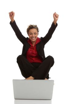 Free Beautiful Caucasion Female With Laptop Excited Stock Photography - 30620122