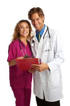 Free Attractive Young Doctor And Nurse With Good News Royalty Free Stock Images - 30620129