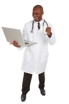 Free Happy African-American Doctor With Laptop Stock Image - 30620151