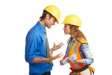 Free Angry Architect And Construction Worker Stock Images - 30620204