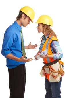 Free Angry Architect And Construction Worker Royalty Free Stock Image - 30620206