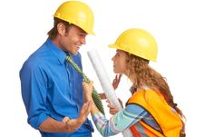 Free Female Construction Worker Mad At Architect Stock Images - 30620214