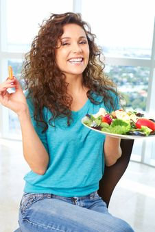 Free Beautiful Happy Female Eating A Salad Royalty Free Stock Photo - 30621045