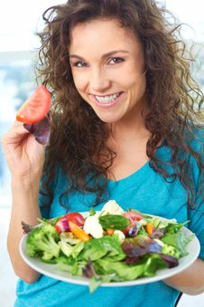 Free Beautiful Happy Female Eating A Salad Royalty Free Stock Image - 30621046