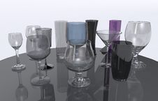 Free Glasses On Glass Table Royalty Free Stock Photography - 30626947