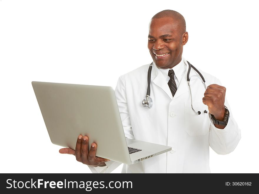 African-American doctor with laptop excited