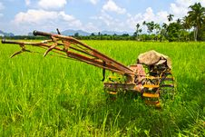 Free Plow Fields In Farm Rice On Blue Sky. Stock Image - 30630681