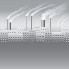 City With The Factory Seamless Stock Image