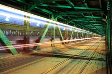Free Tram In Traffic On The Bridge At Night Stock Image - 30633571