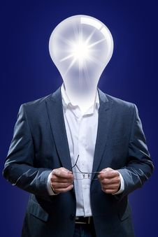 Free Idea Man With A Light Bulb Head. Stock Photos - 30634913