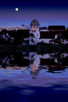 Beautiful Old City Reflecting In Clam Water With Full Moon Royalty Free Stock Photo