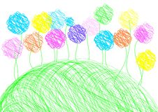 Childish Drawing - Background Template Stock Images
