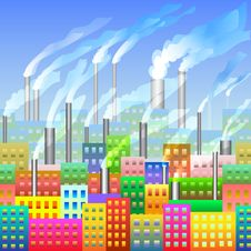 Varicoloured City With The Factory Seamless Royalty Free Stock Images