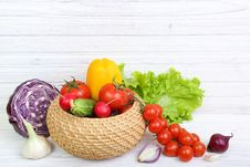 Vegetables On A Wooden Background Royalty Free Stock Photo