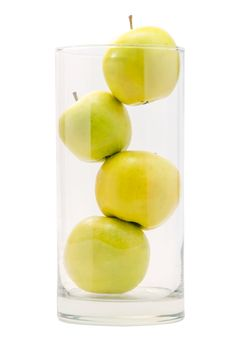 Free Four Yellow Apples In Big Glass Royalty Free Stock Image - 30653366