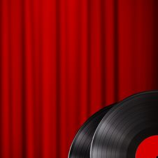 Free Vinyl Disc With Red Curtain Background Royalty Free Stock Photos - 30656868