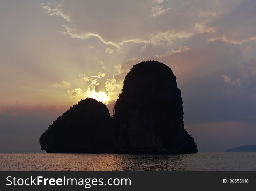 Sunset at tropical beach. Thailand